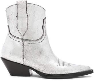 Maison Margiela Metallic Short Western Boots in Silver Birch & Black   FWRD