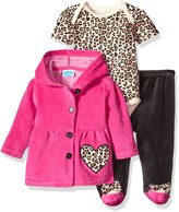 Bon Bebe Girls' 3 Piece Set with Velour Jacket Pant and Bodysuit