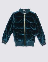 Marks and Spencer Zipped Through Velvet Bomber Jacket (3-14 Years)