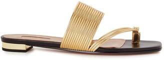 Aquazzura Sunny 10 Gold Leather Sandals