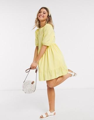New Look mini poplin smock dress in yellow