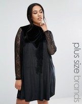 Club L Plus Velvet Swing Dress With Lace Sleeves