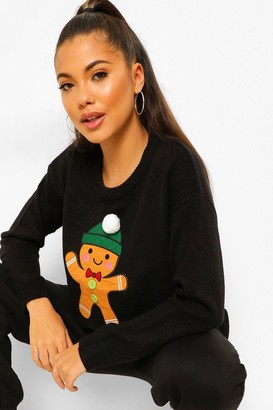 boohoo Gingerbread Pom Pom Christmas Jumper