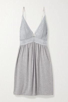 Eberjey Colette Mademoiselle Lace-paneled Stretch-modal Chemise - Gray