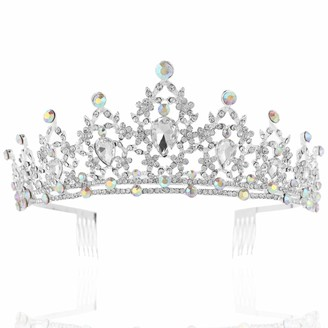 Coucoland Queen Crystal Wedding Tiara Crown Rhinestone Princess Tiara Vintage Wedding Prom Crown Accessories Bridal Tiara Headpiece with Comb Pin (Style 1 Silver)