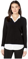 Foxcroft Petite Mika Ribbed Twofer Sweater (Black) Women's Clothing