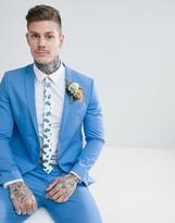 Asos Design ASOS DESIGN wedding skinny suit jacket in stretch cotton in sky blue