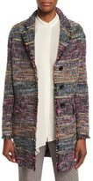 Etro Three-Button Fringe-Trim Topper Coat, Purple/Multi