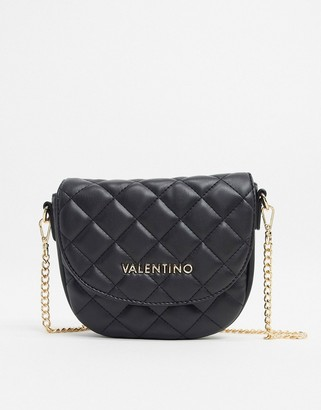 Mario Valentino Valentino By Valentino by Ocarina quilted saddle bag with chain cross body strap in black