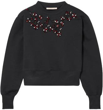 Christopher Kane Cropped Embellished Cotton-jersey Sweatshirt