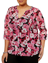 I.N.C International Concepts Plus Pintuck Floral-Printed Blouse