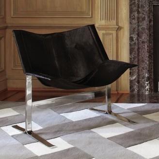 """Global Views 28"""" W Cowhide Side Chair"""