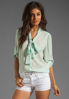 Arie Tied Collar Blouse in Pastel Dot/Aqua