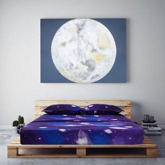 Unique Bargains Galaxy Print Bed Sheets Pillow Cases Bedding Set Blue Queen