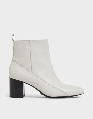 Charles & Keith Zigzag Detail Zip-Up Leather Ankle Boots