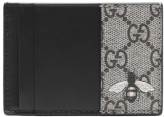 Gucci Bestiary Bee-print Leather Cardholder - Beige