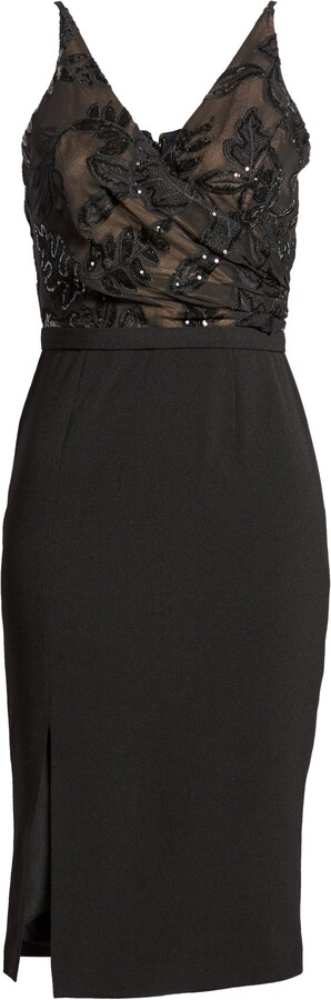 Thumbnail for your product : Dress the Population Giulia Sequin Bodice Crepe Sheath Dress