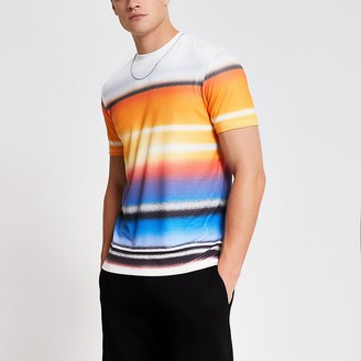 River Island White graffiti stripe slim fit T-shirt