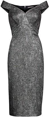 Zac Posen Metallic Jacquard Off-The-Shoulder Sheath Dress