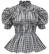 Romance Was Born Puff-sleeve Ruched Gingham Taffeta Blouse - Womens - Black White