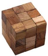 Artisan Crafted Natural Teakwood Puzzle from Java, 'Snake Cube'