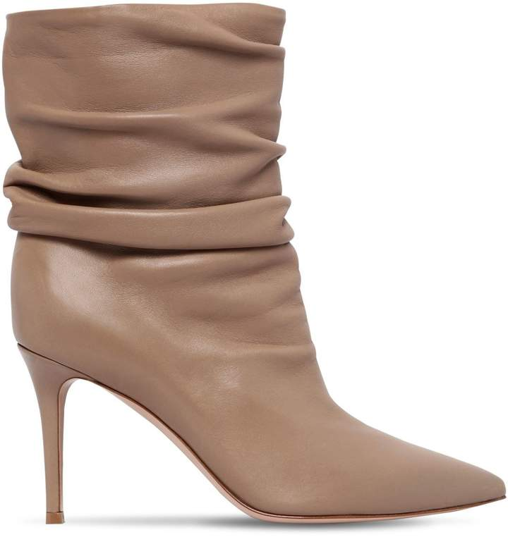 Gianvito Rossi 85mm Cecile Nappa Leather Ankle Boots