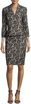 Albert Nipon Velvet Lace Peplum Jacket w/ Pencil Skirt