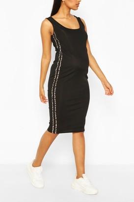 boohoo Maternity Leopard Print Side Stripe Midi Dress