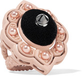 Gucci Resin, Velvet And Faux Pearl Ring - Blush
