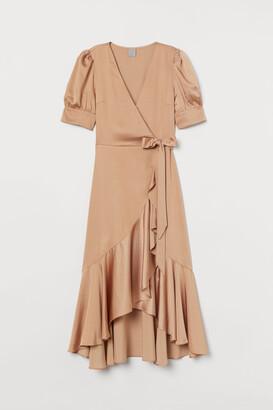 H&M Satin Wrap-front Dress - Beige