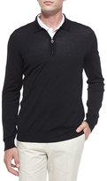 Salvatore Ferragamo 1/4-Zip Long-Sleeve Polo Sweater, Black