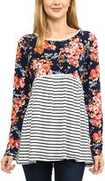 Magic Fit Navy & Coral Floral & Stripe Hi-Low Tunic