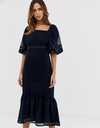 ASOS DESIGN lace puff sleeve pephem dress