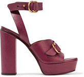 Chloé Leather Platform Sandals - Burgundy