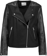IRO Glass leather-trimmed wool-blend biker jacket