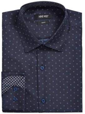 Nine West Men's Slim-Fit Performance Stretch Dotted Diamond-Print Dress Shirt