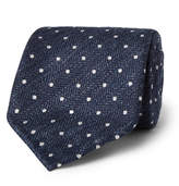 Drake's - 8cm Polka-dot Herringbone Silk And Linen-blend Tie