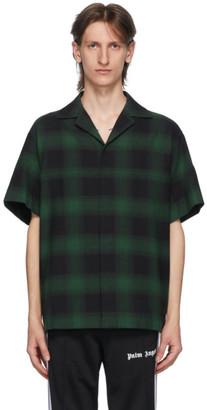 Palm Angels Green and Black Check Logo Bowling Shirt