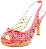 Anne Klein Ristina Women Peep-toe Leather Pink Slingback Heel.