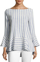 Alice + Olivia Doyle Trumpet Sleeve Loose Peplum Top, Blue/White