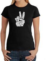 Bed Bath & Beyond Women's Word Art Peace Fingers T-Shirt in Black