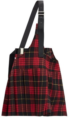 Junya Watanabe Shoulder-strap Tartan Pleated Wool Skirt - Red Multi