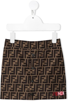 Fendi Kids FF-logo stripe skirt