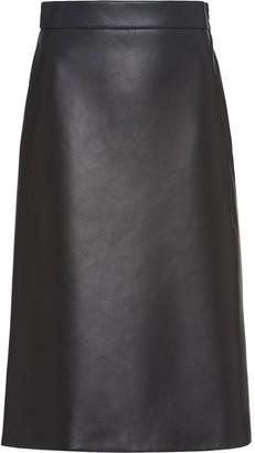 Prada Leather Midi Skirt