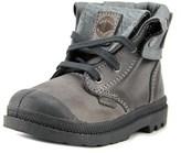 Palladium Baggy Lea Zipper Ii Toddler Round Toe Leather Gray Boot.