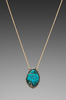 Alexis Bittar Cordova Gold & Antique Rhodium Small Turquoise Pendant