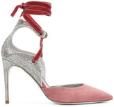 Rene Caovilla ankle strap sequined pumps - women - Leather/Swarovski Crystal/Velvet/Calf Suede - 36