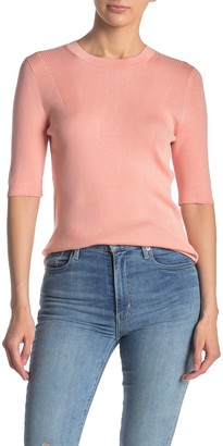 Lafayette 148 New York Skinny Rib Knit 3/4 Sleeve Sweater