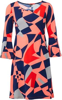 Dorothy Perkins Womens *Izabel London Coral Geometric Print Shift Dress, Coral