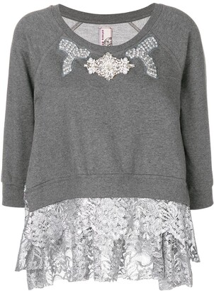 Antonio Marras Embellished Lace Trim Sweater